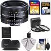 Nikon - 50mm f/1.8D AF Nikkor Lens with 8GB SD Card+3 UV/CPL/ND8 Filters+Hood+Cleaning Kit - Black