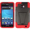 Insten - For Samsung Galaxy S II i777 PC+SC Hybrid Case Cover w/ Kickstand - Red