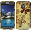 Insten - Rubberized Design Case Cover For Samsung Galaxy S4 Active i537 i9295 - Golden Butterflies
