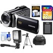 Samsung - HMX-F90 HD Digital Video Camcorder (Black) w/ 32GB Card+Case+Battery+LED Video Light+Tripod+Acc Kit