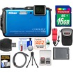 Nikon - Coolpix AW120 Shock+ WiFi GPS Digital Camera Blue w/ 16GB Card+Case+Battery+Flex Tripod+Acc Kit
