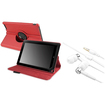 eForCity - 360 Rotating Leather Case + Headset Bundle For B&N Nook HD plus 9-inch - Red