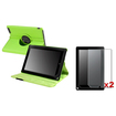 eForCity - 360 Stand Leather Case + 2-Pack Matte Screen Protector Bundle For B&N Nook HD plus 9-inch - Green