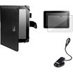 eForCity - Leather Case + Screen Guard + eBook Light Bundle For Kindle Fire HD 8.9 - Black