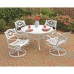 Home Styles - 5PC Dining Set with 4 Swivel Chairs - Clear Coat, Powder Coated, White - Clear Coat, Powder Coated, White