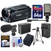 Canon - Vixia HFR50 8GB Flash HD WiFi Camcorder+64GB Card+Batt+Charger+Hard Case+LED Light+Mic+Tripod Kit