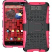 JKase - DIABLO Tough Rugged Dual Layer Protection Case with Build in Stand for Motorola Droid Maxx XT1080M - Pink - Pink