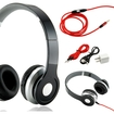 Gearonic - Adjustable Over Ear Stereo Bluetooth Headphones Volume Control Mic Cable f/ iPhone iPod MP3 MP4 PC - Black