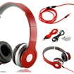Gearonic - Adjustable Over Ear Stereo Bluetooth Headphones Volume Control Mic Cable f/ iPhone iPod MP3 MP4 PC - Red
