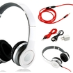 Gearonic - Adjustable Over Ear Stereo Bluetooth Headphones Volume Control Mic Cable f/ iPhone iPod MP3 MP4 PC - White
