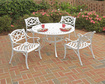 Home Styles - 5PC Dining Set with 4 Chairs - Clear Coat, Powder Coated, White - Clear Coat, Powder Coated, White