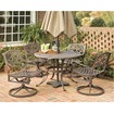 "Home Styles - 5PC 48"" Round Outdoor Dining Set - Antique Powder Coat, Rust Brown"