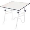 "Alvin - Opal Table, White Base White Top 24"" x 36"" - Black, White"