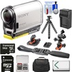 Sony - Action Cam HDRAS100V Wifi GPS HD Camcorder+64GB Card+Batt.+Charger+Surface/Helmet Mounts+Case+Tripod - Black