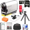 Sony - Action Cam HDRAS100V Wifi GPS HD Camcorder+32GB Card+Batt.+Surf Mount+Floating Strap+Case+Tripod Kit - Black