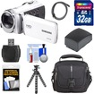 Samsung - HMX-F90 HD Digital Video Camcorder with 32GB Card+Battery+Case+Flex Tripod+Kit - White