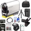 Sony - Action Cam Wifi GPS HD Camcorder+Live View Remote+32GB+Batt.+Charger+LCD Cradle+Case+Tripod Kit - Black