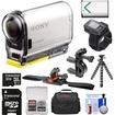 Sony - Wifi GPS HD Camcorder+Live View Remote+32GB+Batt+Handlebar+Vented Helmet Mount+Case+Tripod Kit - Black