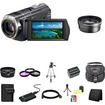 Sony - HDR-CX520V 64GB Flash HD Camcorder Accessory Saver 8GB PRODuo Battery/Rapid Charger Bundle - Black