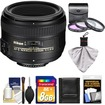 Nikon - 50mm f/1.4G AF-S Nikkor Lens with 8GB SD Card + 3 UV/FLD/CPL Filters + Cleaning Kit - Black