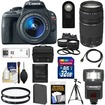 Canon - EOS Rebel SL1 Camera+EF-S Lens +75-300 III Lens+32GB Card+Battery+Case+Flash+2 Lenses+Tripod Kit - Black
