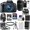 Canon - EOS Rebel T5i Camera+EF-S Lens+EF-S 55-250 IS Lens+64GB Card+Battery+Backpack+Tele/Wide Lenses - Black