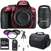 Nikon - Bundle D5300 DX-Format Digital 24.2MP SLR Body w/ 3.2 Vari-angle LCD - Red
