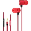 AGPtek - 3.5mm Jack Wire Metal Stereo Phone Earphones Headphones Earbuds Only For iPhone 5S 5 4 4S iPad - Red