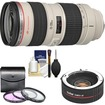 Canon - EF 70-200mm f/2.8L USM Zoom Lens with 2x Teleconverter + 3 UV/FLD/CPL Filters + Cleaning Kit