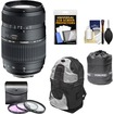 Tamron - 70-300 Di LD Macro 1:2 Lens BIM for Nikon Cameras+3 UV/FLD/CPL Filters+Backpack Case+Lens Pouch - Black
