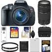 Canon - EOS Rebel T5i DSLR Camera+EF-S 18-55 IS STM Lens+EF 75-300 III Lens+32GB Card+Batt+Case+Filters+Acc - Black
