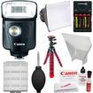 Canon - Speedlite 320EX Flash w/ LED Light w/ Softbox+Bounce Reflector+Batteries+Chrgr+Flex Tripod+Acc Kit - Black