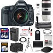 Canon - EOS 5D Mark 3 Camera+EF 24-105 Lens+70-200 f/2.8 L IS II Lens+64GB+Grip+Batt+Chrgr+Case+Tripod Kit - Black
