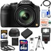 Panasonic - Lumix DMC-FZ200 Digital Camera+64GB Card+Case+Battery+Flash+3 Filters+Tripod+HDMI Cable+Acc Kit - Black