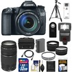 Canon - EOS70D Camera+EF-S 18-135 IS STM Lens+75-300 3 Lens+32GB Card+Batt+Case+Tripod+Flash+Tele/Wide Lens - Black