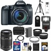 Canon - EOS70D Camera+EF-S 18-135 IS STM Lens+55-250 IS Lens+32GB Card+Batt+Case+Tripod+Flash+Tele/Wide Lens - Black