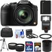 Panasonic - Lumix DMC-FZ200 Digital Camera with 32GB Card+Battery+Case+Flash+Lens Set+Tripod+3 Filters Kit - Black
