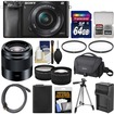Sony - A6000 WiFi Camera+16-50mm Lens +50mm f/1.8 Lens+64GB Card+Case+Battery/Charger+Tripod+Tele/Wide Lens - Black