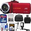 JVC - Everio GZ-R10 Quad Proof Full HD Digital Video Camera Red w/ 32GB Card+Case+LED Light+Tripod - Red