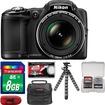 Nikon - Coolpix L830 Digital Camera with 8GB Card + Case + Flex Tripod + Acc Kit - Black
