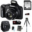 Canon - PowerShot Bundle PowerShot SX170 IS 16.0 MP Digital Camera with 16x Optical Zoom and 720p HD Video Black - Black