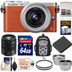 Panasonic - Lumix DMC-GM1 Micro Four Thirds Camera+12-32 Lens Orange+45-150 Lens+64GB Card+Batt+Backpack+Filters - Orange