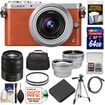 Panasonic - Lumix DMC-GM1 Camera+12-32 Lens Orange+45-150 Lens+64GB Card+Batt+Case+Filters+Tripod+Tele+Wide Lens - Orange