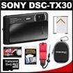 Sony - Cyber-Shot DSC-TX30 Shock+Waterproof Digital Camera w/ 32GB Card+Batt+Case+Floating Strap+Acc Kit - Black