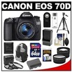 Canon - EOS 70D Camera+EF-S 18-55 IS STM Lens+64GB Card+Batt+Charger+Backpack+3 Filters+Tripod+Tele lens