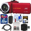JVC - Everio GZ-R10 Quad Proof Full HD Digital Video Camera Camcorder w/ 32GB Card+Case+HDMI Cable+Acc Kit - Red