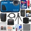 Canon - PowerShot D30 Shock+Waterproof GPS Digital Camera w/ 32GB Card+Case+Battery/Charger+Flex Tripod - Blue