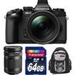 Olympus - OM-D E-M1 Micro 4/3 Camera w/ 12-40mm f/2.8 Lens Black w/ 40-150mm Lens+64GB Card+Mini Sling Bag Kit - Black