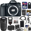 Canon - EOS 70D Digital SLR Camera Body with 55-250mm IS STM Lens+64GB Card+Case+Flash+Battery+Charger