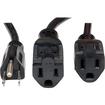 Tripp Lite - 18-in. 16AWG 13A Power Splitter Cord (NEMA 5-15P to 2 x NEMA 5-15R) - Black